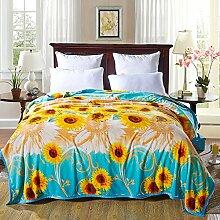 shinemoon Betten Plüsch Coral Fleece Decke für Sofa Couch Betten Super Weich leuchtende Sonnenblumen Muster Warm überwürfen für Baby Kids, 100 % Polyester, Sonnenblumen, 180x200cm