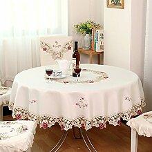 shinemoon Eleganter Stickerei Hohl Rot Blumen Tisch rund Cover für Hochzeit Party, Heimtextilien Küche creme Tischdecken, Polyester, Round, 200*200cm