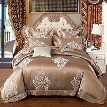 shinemoon Heimtextilien, All Season Luxus Floral Blumen Muster Bettbezug Set umfasst Bettlaken und Kissenbezüge, Satin Jacquard 100% Baumwolle Bettset 4-Sets für Schlafzimmer, braun, Doppel-Größe
