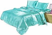 shinemoon Heimtextilien, Satin Luxus Bettbezug Sets Farbe Betten Set 4mit 1Bettbezug 1Spannbettlaken 2Kopfkissen, Polyester, cyan, Einzelbe