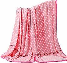 shinemoon Home Baby Fleece-Textilien Decken Pink mit Dots Muster Sofa Couch, Bett Blatt Twin/Full/King Size, 100 % Polyester, pink / grau, 180x200cm