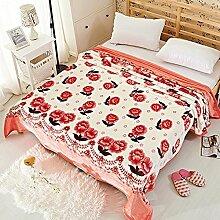 shinemoon Home Bettwäsche Kollektion flauschig Fleece Bett Überwurf Decke Mädchen Kinder Room Decor Warm Decken mit Rosen Muster, 100 % Polyester, Roses pattern, 180x200cm