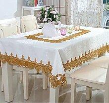 shinemoon Home Rustic Kitchen Esstisch Tücher weiß mit Spitze Quadratisch/rechteckig Tischdecke für Indoor Outdoor, Polyester, With golden lace, Square 130x130cm
