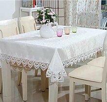 shinemoon Home Rustic Kitchen Esstisch Tücher weiß mit Spitze Quadratisch/rechteckig Tischdecke für Indoor Outdoor, Polyester, With white lace, Rectanglular 140x200cm
