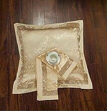 ShineMoon Kissenbezug 2 Stück Jacquard-Satin & Baumwolle quadratisch dekorativ 60x 60cm für Bett/Sofa, Color #11, 60x60cm