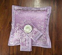 ShineMoon Kissenbezug 2 Stück Jacquard-Satin & Baumwolle quadratisch dekorativ 60x 60cm für Bett/Sofa, Color #4, 60x60cm