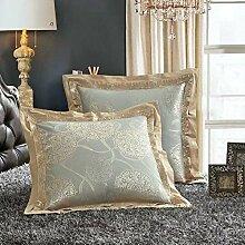 ShineMoon Kissenbezug 2 Stück Jacquard-Satin & Baumwolle quadratisch dekorativ 60x 60cm für Bett/Sofa, Color #5, 60x60cm