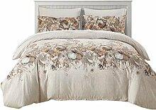 shinemoon Lichtfarbe Betten Leichtes Polyester Mikrofaser Bettdecke/Bettbezug und Kopfkissen Set, Floral #2, King, 3pcs/se