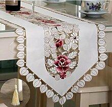 shinemoon Rustikal bestickt Leaf Floral Tischläufer für Hochzeit Party Home Decor Hand Tischdecke Deckel mit Quasten, Polyester, 40x176cm