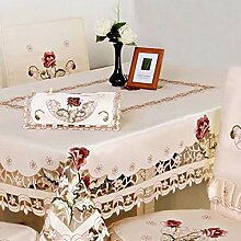 shinemoon Rustikal Rosa Blumen bestickte beige Tischdecken für Esstisch Couchtisch quadratisch/rechteckig Party Hochzeit Decor Tischdecke Bezüge, Polyester, Square 130*130cm