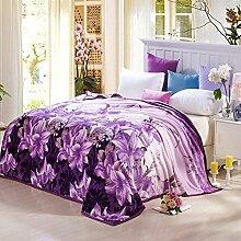 shinemoon Winter Warm Home Bett Sofa Fleece Decken und Überwürfe Bezüge für Kinder Erwachsene Reise Snuggle Überwurf über, lila Lily Muster, 100 % Polyester, Purple Lily, 200x230cm
