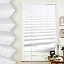 SHINY HOME® Jalousien Plissee mit Gardinenstange Klemmträger Vorhang Single Elegant Sonnenschutzrollo für Fenster Tür ohne Bohren Fensterrollo Gardinen Weiß 80x130cm