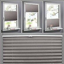 SHINY HOME® Jalousien Plissee mit Gardinenstange Klemmträger Vorhang Single Elegant Sonnenschutzrollo für Fenster Tür ohne Bohren Fensterrollo Gardinen Kaffee 90x130cm