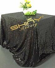 ShinyBeauty–Tischdecke mit Glitzer-Pailletten aus Leinen für Hochzeit, Party, Pailletten-Überwurf, Schwarz , 48x72-Inch