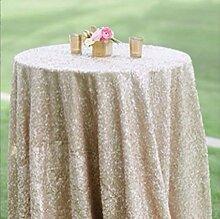 shinybeauty 121,9cm rund champagner Pailletten Tischdecke, Großhandel Hochzeit Schönes Pailletten Tisch Tuch/Overlay/Cover