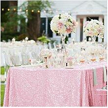 shinybeauty 125 x 180 cm Blush Pink Pailletten Tischdecke Sparkle Tisch Cover für Hochzeit/Party