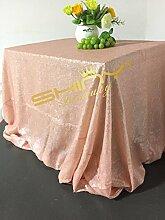 ShinyBeauty 150cm x 300cm Matt-Pink Pailletten Tischdecke, Großhandel Hochzeit Schöne Matt-Pink Pailletten Tabelle Tuch/Overlay/Cover #19
