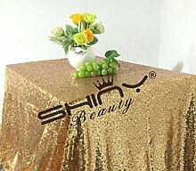 ShinyBeauty-150x260cm-Pailletten Tischdecke-Gold f¨¹r Hochzeit-Home-Ger?t-Dekoration-Gold