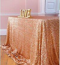 ShinyBeauty-150x260cm-Pailletten Tischdecke-Rose Gold für Hochzeit Home Gerät Dekoration Rose Gold (Rose Gold)