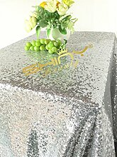 ShinyBeauty 150x260cm Weiß Pailletten Tischdecke Table Overlay und Pailletten Cover auf Hochzeit/Party/Event/Dekoration (Weiß)