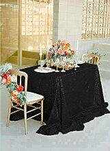 ShinyBeauty 150x360cm Rechteckige Pailletten Tischdecke schwarz Glitzer Kreisförmige Pailletten Tischdecke Cool schwarze Pailletten Tisch Tischdecke auf Hochzeit Zeremonie Geburtstag Party Dinner Banquet Tischwäsche Dekoration
