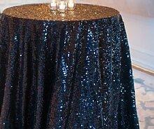 ShinyBeauty 180cm Runde Pailletten Tischdecke schwarz Glitzer Kreisförmige Pailletten Tischdecke Cool schwarze Pailletten Tisch Tischdecke auf Hochzeit Zeremonie Geburtstag Party Dinner Banquet Tischwäsche Dekoration