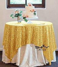 shinybeauty 182,9x 182,9cm Gold Pailletten Tischdecke Pailletten Tischdecken Großhandel von Pailletten Tischdecken Sparkly Gold Pailletten Bettwäsche für Hochzeiten/Events Dekoration