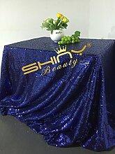 ShinyBeauty 225x330cm-Dunkelblau Glitzernden Pailletten Tischdecke für Hochzei