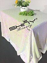 ShinyBeauty-225x390cm-Pailletten-Tischdecke für Hochzeit/Erntedankfest/Weihnachten-Geänderte weiß