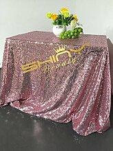 ShinyBeauty-225x390cm-Pailletten-Tischdecke für Hochzeit/Erntedankfest/Weihnachten-Pink Gold