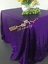 ShinyBeauty-225x390cm-Pailletten-Tischdecke für Hochzeit/Erntedankfest/Weihnachten-Lila