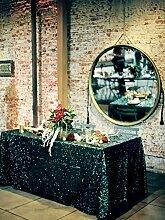 shinybeauty 228,6x 497,8cm schwarz Pailletten Tischdecke, Großhandel Hochzeit Schönes Pailletten Tisch Tuch/Overlay/Cover, Black #1, 72in Round