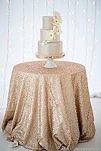 ShinyBeauty-275cm-Runde Tischdecke Champagner Pailletten Hochzeit/Party/Geburtstag/Veranstaltungen Dekoration Hochzei