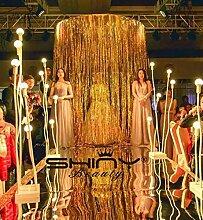 shinybeauty 3ftx8ft Metallic Gold Folie Fransen Vorhang/Foto Hintergrund/Aufhängung Gardine/Folie Fransen Fenster cutain/Die Tür/Eingang Lametta/Vorhang, gold, 12x10f