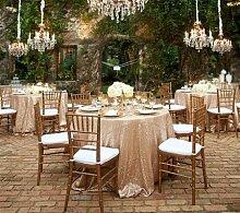 shinybeauty 304,8cm rund Pailletten Tischdecke machen Hochzeit Schönes Pailletten Tisch Tuch/Overlay/Cover, Champagne, 108in Round