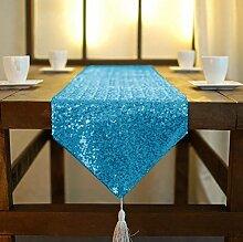 ShinyBeauty 30x275cm-Türkis-Pailletten Quaste Tischläufer, Glitzer Pailletten Stoff Tischdecke für romantische Hochzeitsfeier oder zu Hause Warm Dekoration (Türkis)