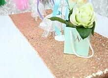 ShinyBeauty 35x180cm-Rose Gold Pailletten Tischläufer für Hochzeit/Veranstaltung/Party/Bankett-14x72inch