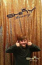 shinybeauty 4x Gold Pailletten Hintergrund Fotografie und Photo Booth Hintergrund für Hochzeit/Party/Fotografie/Vorhang/Geburtstag/Weihnachten/Ball/andere Event Decor 121,9x 182,9cm