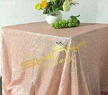 shinybeauty 48x 183cm Hochzeit Pailletten Tischdecke Baby Pink