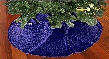 ShinyBeauty 48 Zoll-Marineblau Sequin Leinen Weihnachten Dekoration Baum-Rock Weihnachtsbaum Tischdecke 125cm