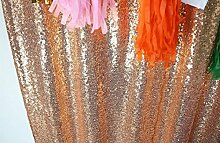 ShinyBeauty 4FTx6FT Party Sequin Backdrop - Glitz Backdrop and Sequin Photobooth for wedding, Party, Photography, Curtain, Birthday, Christmas, Prom & Other Event Decor (48inx72in) (Rose Gold) by ShinyBeauty