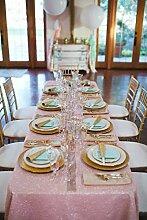 shinybeauty 90in by 196in Pailletten Tischdecke Hochzeit Tischdecke Sparkle Pailletten Linens Overlay, Pink, 90''*156''