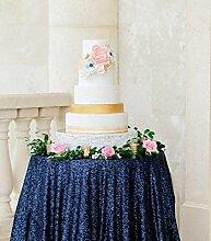 shinybeauty 90in Pailletten Tischdecke, rund, dunkelblau