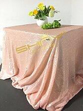 shinybeauty Blush Pink Pailletten tablecloth-60X 102in glänzend Pailletten Glamorous Tischdecke für Hochzeit/Gathering/, Tischdekoration