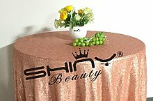ShinyBeauty Blush Pink-Pailletten Tischdecke-120-Zoll-Runde, Großhandel Pailletten Bettwäsche/Glitzernde Pailletten Overlays/Covers(120-Inch)