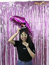 shinybeauty? foil-fringe-curtain-3ftx10ft-Rosa Party Foto Hintergrund Hochzeit Dekoration (2 St¨¹ck)