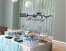 shinybeauty Folie Fransen Dekoration Transparent Weiß Vorhang für Hochzeit Geburtstag Event Stage Party Dekoration 3ftx8ft Sparkly Folie Fring Hintergrund für neue Jahr Party Hochzeit Party