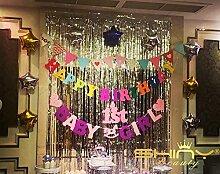shinybeauty Folie Fransen Vorhang backdrop-6X 8ft-silver Metallic Tür Fenster Vorhang für Halloween/Weihnachten Party Vorhang Dekoration (2Stück)