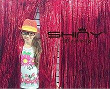 shinybeauty Folie Fransen Vorhang backdrop-9X 8ft-red Metallic Tür Fenster Vorhang für Halloween/Weihnachten Party Vorhang Dekoration (Pack von 3)