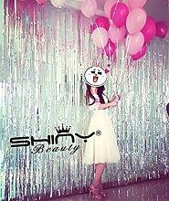 shinybeauty Folie Fransen Vorhang backdrop-9X 8ft-silver Metallic Tür Fenster Vorhang für Halloween/Weihnachten Party Vorhang Dekoration (Pack von 3)